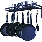 ZESPROKA Wall Mounted Pots & Pans Hanging Rack with 10 S Hooks - Pantry & Kitchen Cabinet & Shelves Organizer Rack - Suitable for Hanging Various Kitchen Utensils, Books & Plants