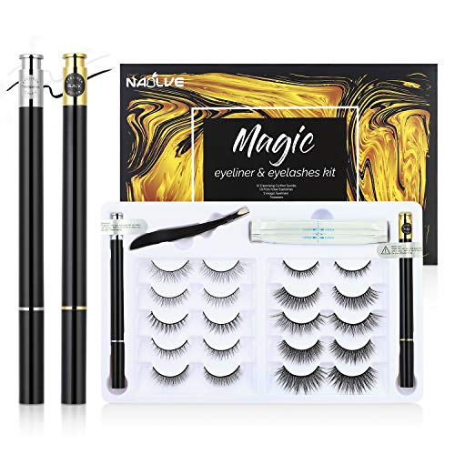 10 pairs of Magnetic Eyelashes, 2 pieces magnetic eyeliner Und ein Pinzette,3D Magnetic...