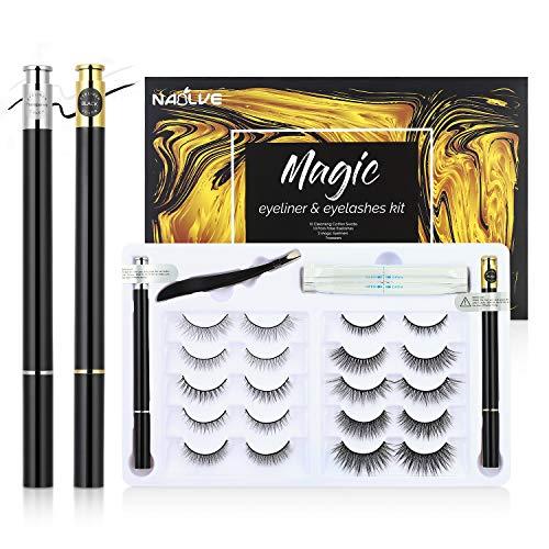 No Magnetic Eyelashes 10 paar, 2 pcs magnetic eyeliner Und ein Pinzette,3D Magnetic Eyelashes,Wiederverwendbare wasserdichte und antimagnetische Wimpern