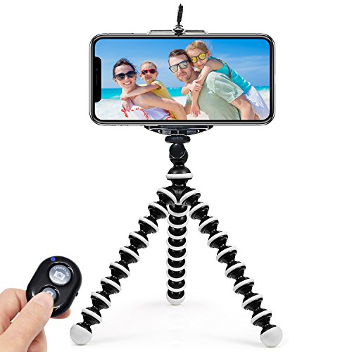 ARNIL Phone Tripod, Tripod for Phone Portable and Adjustable Phone Tripod Stand Holder for Phone, Cellphone, Camera with Universal Clip and Remote Shutter (Plastic)