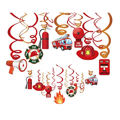Kristin Paradise 30Ct Fire Truck Hanging Swirl Decorations, Fireman Party Supplies, Firefighter Birthday Theme Decor for Boy Girl Baby Shower, Firetruck Kids 1st Bday Favors