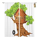 Emvency Thermal Blackout Curtains/Drapes Set of 2 Panels (52' W x 63' L) Bamboo Beautiful Tree House Cartoon Building Children Window Curtains for Living Room