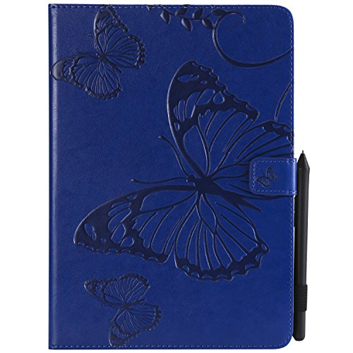 Wmchiwan Tablet Protector Shockproof TPU Bumper With Stylus Pen Holder Magnetic Clasp Butterfly Embossed Full-Body Protective Flip Leather Wallet Case Fit for iPad Pro 9.7inch