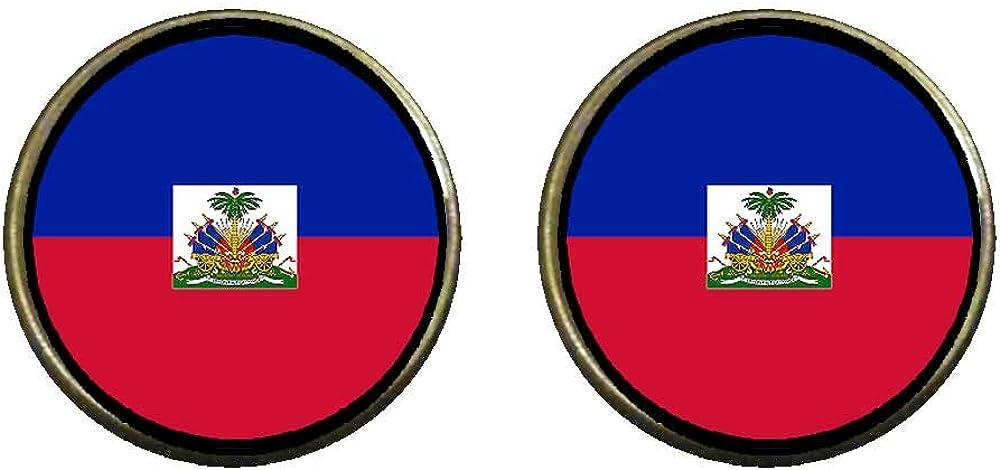 GiftJewelryShop Bronze Retro Style HaiTi flag Photo Clip On Earrings 14mm Diameter