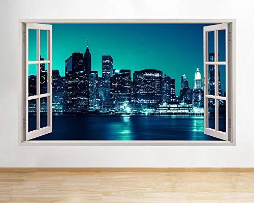 HUJL Pegatinas de pared Pegatinas de pared Night Sky City Scene Blue River Decal Poster 3D Art Vinyl