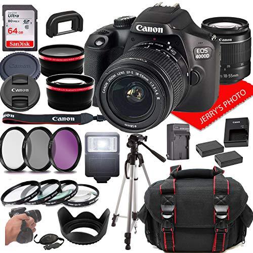 Canon EOS 4000D DSLR Camera w/Canon EF-S 18-55mm F/3.5-5.6 Zoom Lens + Case + 64GB Memory (26pc Bundle)