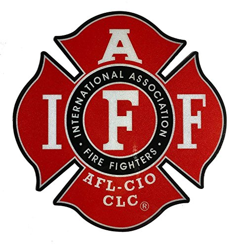 "The Classic 4"" REFLECTIVE IAFF Union True Red 3m Vinyl Firefighter Us Made Window Decal"