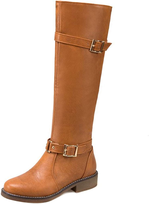 KemeKiss Warm Equestrian Boots Women Med Heel Knee High Boots Round Toe Warm Lining shoes