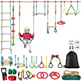 Ninja Warrior Obstacle Course for Kids, Weatherproof 54' Ninja Slackline with 14 Obstacles Accessories Includes Swing,Ladder, Spinning Wheel-Fun and Safe Outdoors Ninja Warrior Training Equipment