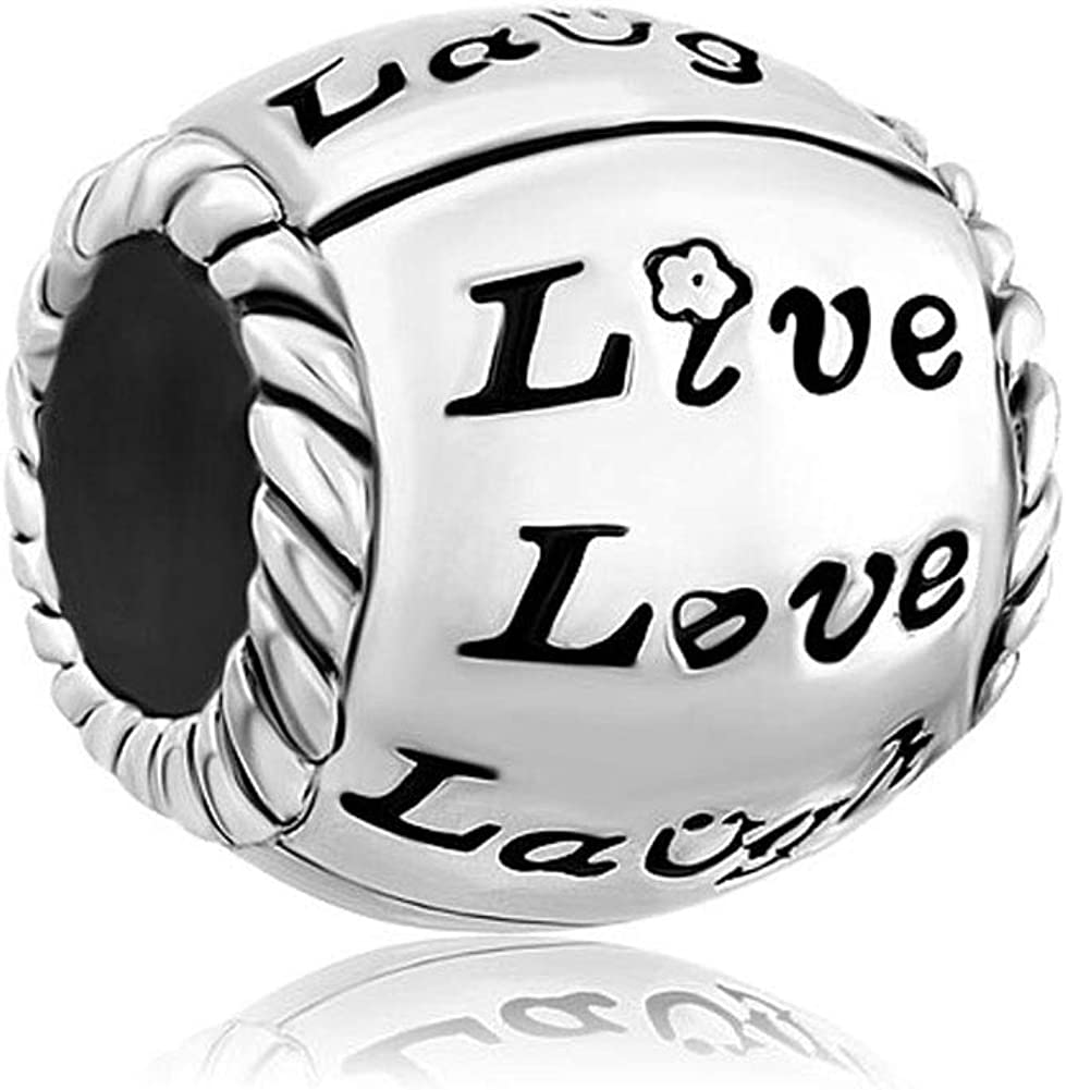 LilyJewelry Live Love Laugh Charm Lucky Beads Fits European Bracelets