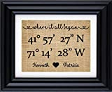 Where it all began - GPS Coordinates Print, gift for him/her, Gift for couple, Where we met Coordinates Burlap Print (Frame not Included)