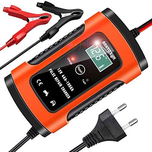 YDBAO Autobatterie Ladegerät KFZ Batterieladegerät 6A 12V Intelligentes Erhaltungsladegerät mit LCD-Bildschirm Mehrfachschutz für Auto und Motorrad inkl. Ladeleitung mit Polzangen