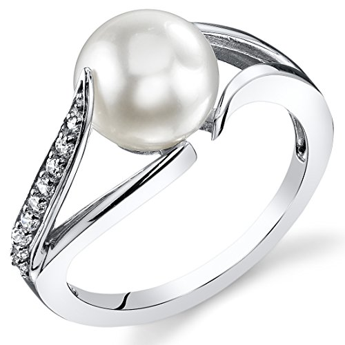 Freshwater Cultured White Pearl Ring by Peora