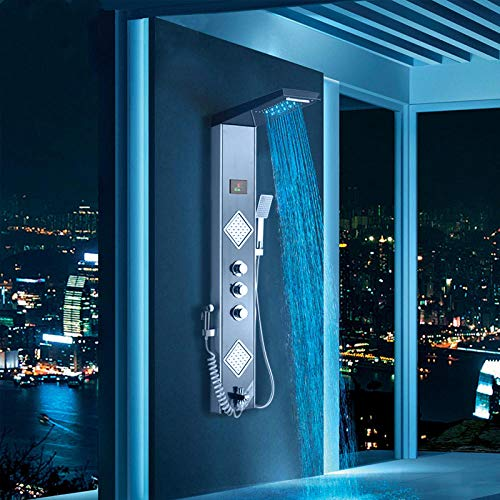 Wieoc douchesysteem zwart grijs LED douchepaneel kolom regen waterval douchekop digitale scherm Temp 3 handgrepen Mixer Tap Spray Bidet douche