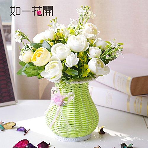 Xin Pang Japanischen Blumenarrangements Emulation Rose Bouquet von Rattanmöbel idyllische Künstliche Blumen und Pflanzen2 Kit, die Phantasie die Weiße Rose + Die Rattan Vase