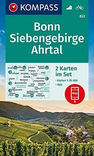 Bonn, Siebengebirge, Ahrtal: 2 Wanderkarten 1:35000 im Set inklusive Karte zur offline Verwendung in der KOMPASS-App. Fahrradfahren. (KOMPASS-Wanderkarten, Band 822)