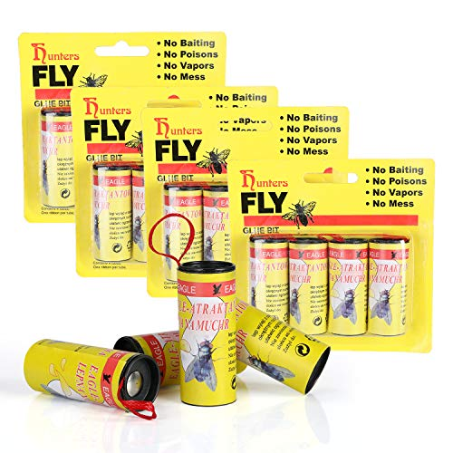 BFVV 16 PCS Fly Trap Sticky Tapes for Flying Plant Insect, Fly Catcher Ribbon, Fly Paper Strips, Fly Catcher, Fly Bait Yellow(Upgrade with Thumbtack)