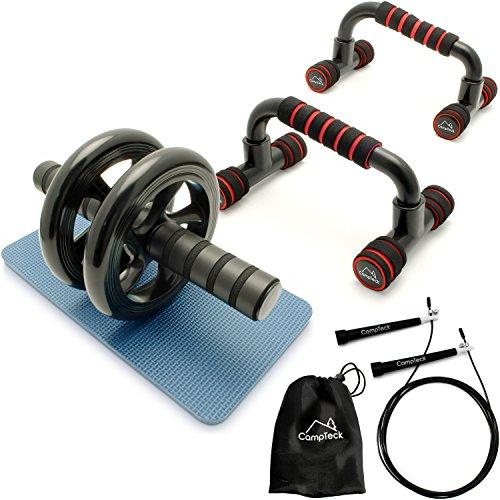 CampTeck U6759 'Training Starter Kit' – Liegestützgriffe Push Up Bar Stand, 3m Speed Rope Springseil & Dual AB Roller Bauchtrainer Roller Bauchmuskeltrainer für Fitnesstraining & Muskelaufbau