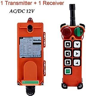 Wireless Hoist Crane Single Emitter Transmitter & Receiver Industrial Radio Remote Control F21-E2 with Safety Key Switch (AC/DC 12V)