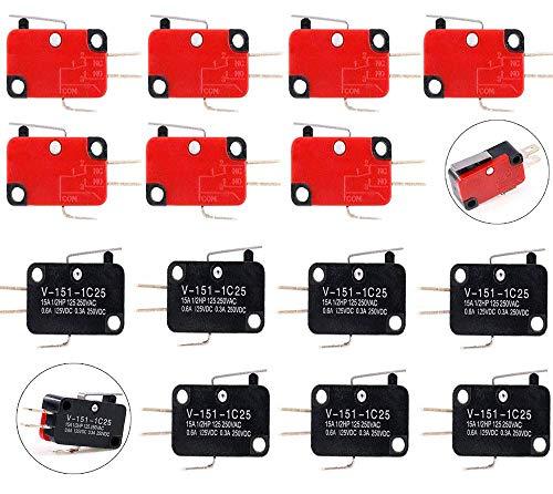 VISSQH 14 Stück mikroschalter endschalter V-151-1C25, Lange Scharnier Hebel Mikroschalter,SPDT 3 polig Endschalter, Momentary, für Arduino-Projekte Elektronischen Geräten