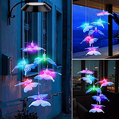 Ninonly Solar Butterfly Wind Chimes,Solar LED Lights Chimes for Outdoor Decor,Yard Decorations Solar Light Mobile,Memorial Wind Chimes,Gifts for mom,Birthday Gifts for mom,Grandma Gifts