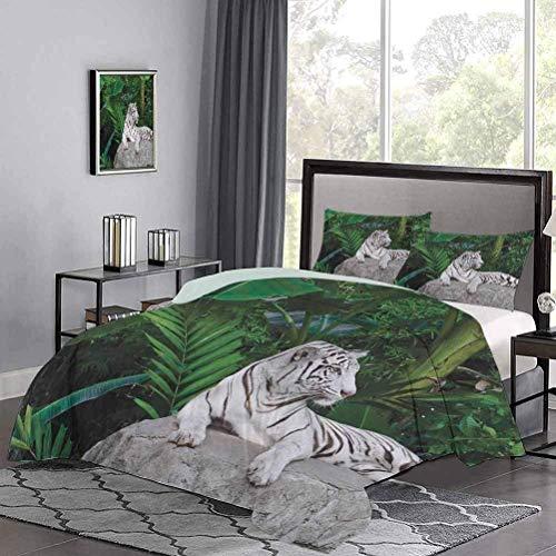Juego de funda nordica de, ajuste de tigre blanco en piedra, plantas tropicales, hojas, selva salvaje, juegos de cama para ninos majestuosos, que te hacen derretir mientras duermes, beige, verde, gris
