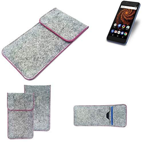 K-S-Trade® Handy Schutz Hülle Für Allview X4 Soul Mini S Schutzhülle Handyhülle Filztasche Pouch Tasche Case Sleeve Filzhülle Hellgrau Pinker Rand