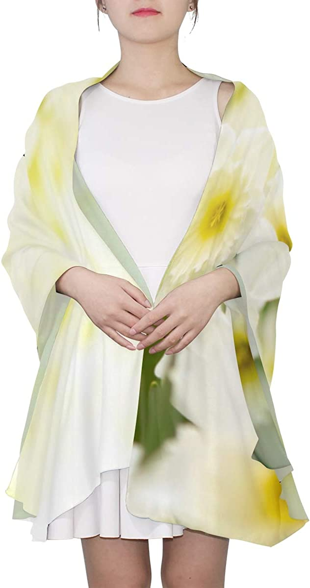 Beautiful White Daffodil Flower Unique Fashion Scarf For Women Lightweight Fashion Fall Winter Print Scarves Shawl Wraps Gifts For Early Spring