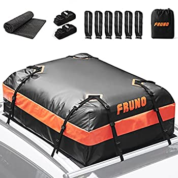FRUNO 15 Cubic Feet Rooftop Cargo Carrier Waterproof Vehicle Cargo Carrier Roof Bag for Top of Car with/Without Roof Rack