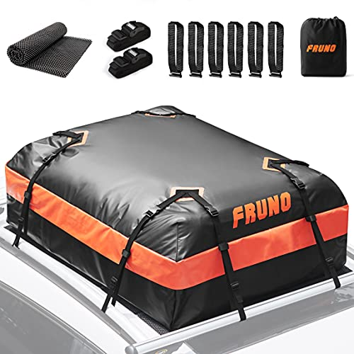 FRUNO 15 Cubic Feet Rooftop Cargo Carrier Waterproof Vehicle Cargo Carrier Roof Bag for Top of Car...