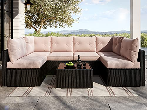 Allewie Outdoor Patio Furniture Set 7 Pieces Balcony Furniture Black PE Rattan Wicker Patio Conversation Sets with Seat Cushions and Tempered Glass Table, Khaki