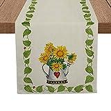 Artoid Mode Sunflower Green Leaves Table Runner, Seasonal Summer Flower Pot Holiday Kitchen Dining Table Runner for Home Party Decor 13 x 72 Inch