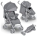 Lionelo Irma Folding Stroller with Backrest Adjustment 6 Inch Wheels (Gray)