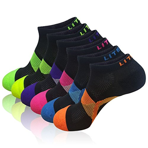 LITERRA Womens 6 Pack No Show Running Athletic Socks Low Cut Sports Cushioned Performance Sock