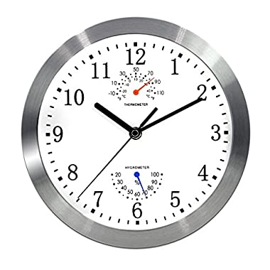 Magho Battery Operated Silent Non-ticking Indoor Wall Clock with Temperature & Humidity ,Glass Cover,Silver Color(Aluminum Metal Frame, 10')