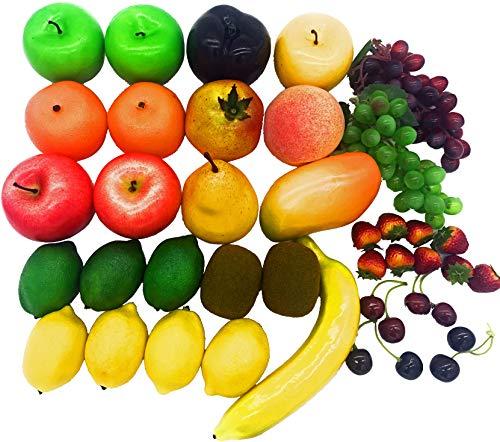 Dasksha 40 PCS Realistic Fake Fruits for Decoration - Lifesized Fruits Includes Artificial Grapes, Apples, Lemons, Kiwis, and More