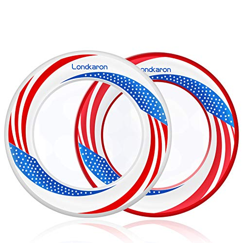 Londkaron Kids#039 Soft Polymers Flying Rings Fly Straight amp Don#039t Hurt 40% Lighter Than Standard Flying Discs  Replace Screen Time with Healthy Family Fun American Flag 2Pack
