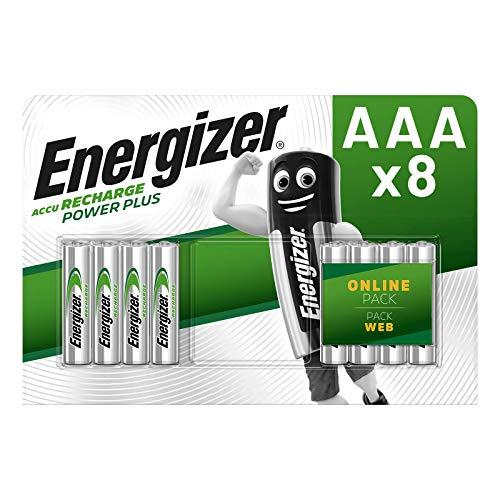 Energizer Piles Rechargeables AAA, Recharge Power Plus, Lot de 8, 700mAh, Emballage peut Varier