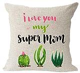 El regalo para mamá flores Poppy feliz día de la madre manta de lino y algodón cuadrado Funda para cojín de cintura funda de almohada decorativa funda de almohada de sofá 18x 18pulgadas