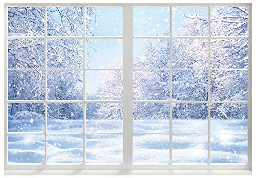 Funnytree Winter Landscape Window Photography Backdrop Christmas Snow Trees Scenery Background Baby Kids Party Decorations Portrait Cake Table Banner Photo Studio Props 7x5ft