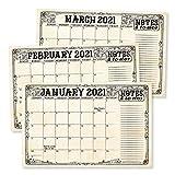 Vintage 2021-2022 Desk Calendar, Large Monthly Wall Planner, 18 Month Academic Desktop Calendar or Fridge Planning Blotter Pad, Elegant Notes Section for Teacher, Family, or Business Office 11x17'