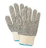 Magid Glove & Safety T193MEDPR Magid Knit Master /T193PR Knit Glove w/Plastic Dots, Men's (Fits), Natural, Medium (Pack of 12)