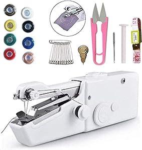 Máquina de coser de mano, herramienta de costura rápida con 18 piezas accesorios adecuados para ropa, tela vaquera, cortinas, cuero y bricolaje