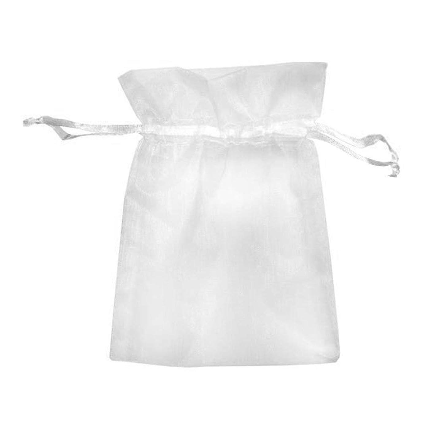 待って六分儀見えないSwiftgood 100ピースホワイト7×9センチ巾着オーガンザポーチギフトdiyパッケージジュエリーパーティーバッグ