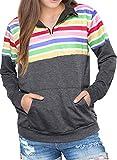 CORAFRITZ - Sudadera con capucha de manga larga para mujer, color arcoíris con bolsillos Multicolor Multicolor M
