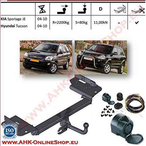 ATTELAGE avec faisceau 13 broches | Kia Sportage / Hyundai Tucson de 2005 à 2010 / crochet «col de cygne» démontable avec outils