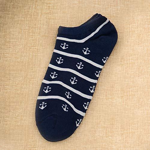 DYCZWZ Freizeit Sport Socken 2 Paare Sommer Gestreifte Matrosen Anker Herren Lässig Knöchel Baumwollsocken Herren Bootssocken Hausschuhe