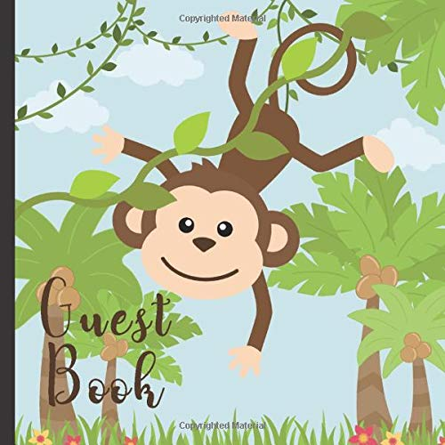 Guest Book: Gorgeous Monkey Theme Party Guest Book Includes Gift Tracker and Picture Memory Section...