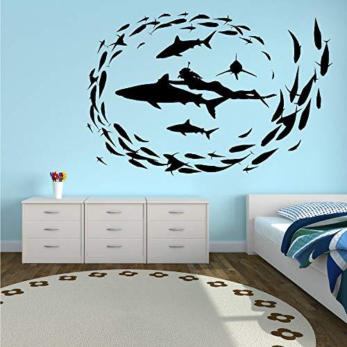 Pegatina Promotion Taucherin mit Haien Fischen Underwater World tauchen 70cm Aufkleber,Autoaufkleber,Lack,Scheibe,Wand, UV& Waschanlagenfest Profi Qualität UV& Waschanlagenfest,Profi Qualität