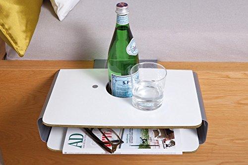Nacht-Tisch Mini-Nachttisch Nacht-Konsole OPTION weiss / silber Bett-Ablage